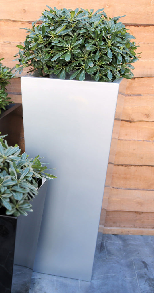 Tall Tapered Square Planters Black White Silver