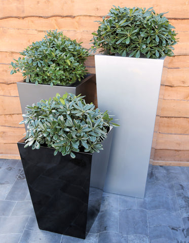 Tall Tapered Square Planters Black White Silver Artificial Green