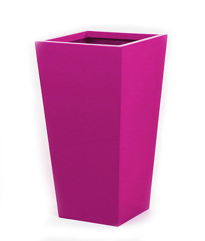 Tall Pink Planter. Tapered square planter in pink.