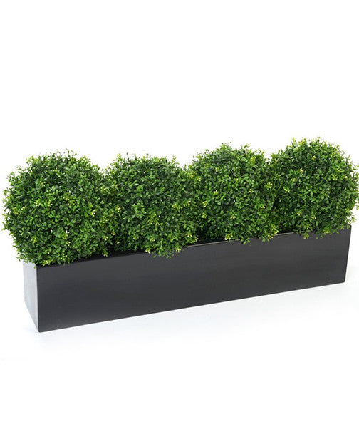Boxwood Topiary Balls In Window Box Planter Artificial Window Boxes Artificial Green