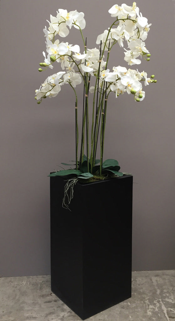 Floor Standing Artificial Orchid In Tall Square Planter 1