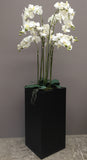 Floor standing artificial orchid display in black square planter