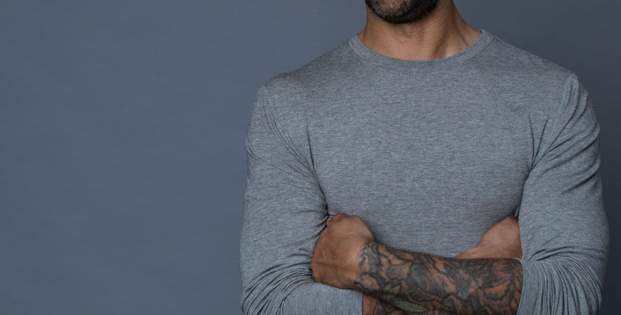 The Navas Lab Mac Microstripe long-sleeve shirt for tall guys in concrete mix. The perfect tall slim shirt for tall and slim guys looking for style and comfort.