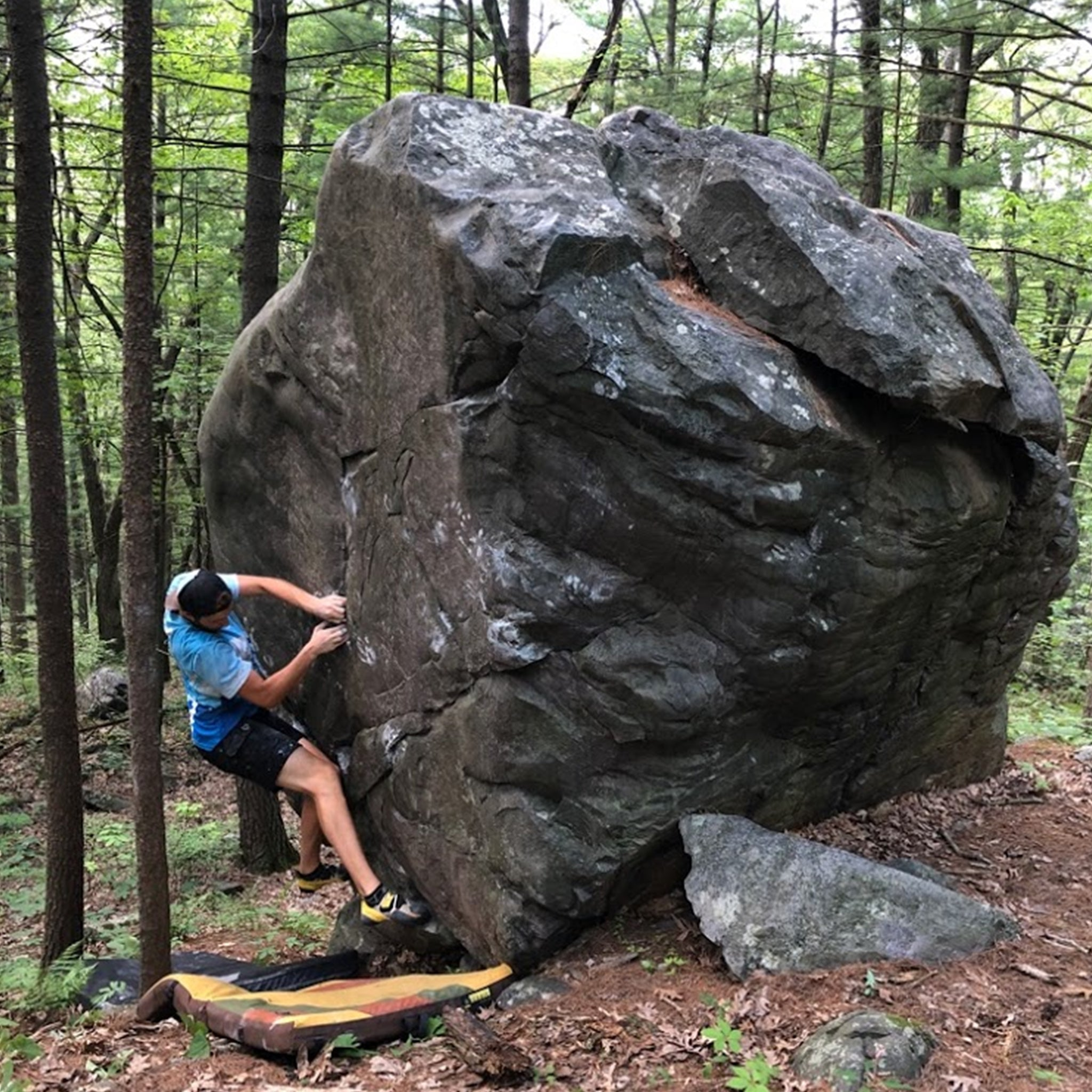 Jon Duff Bouldering in Zod men's long board shorts by Navas Lab Apparel