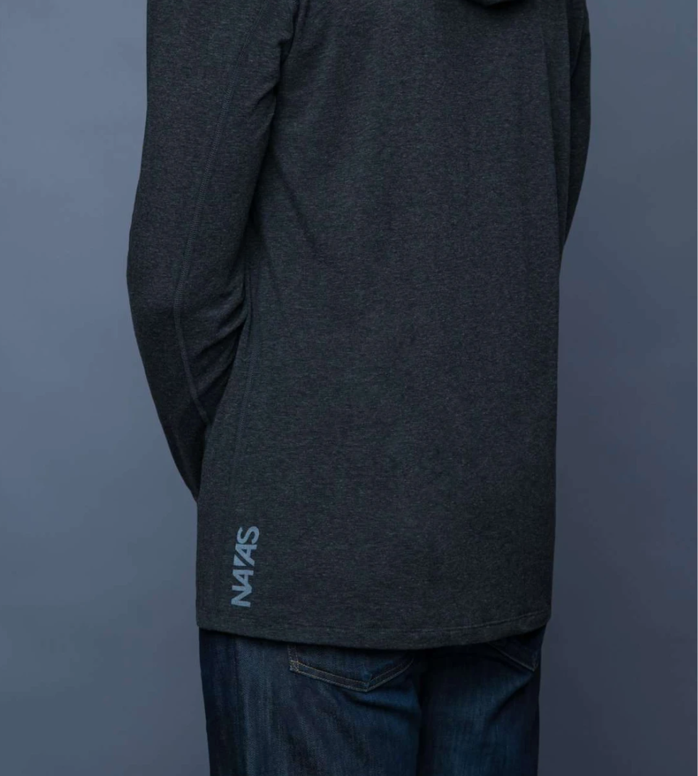 The Navas Lab Mac Microstripe long-sleeve shirt for tall guys in charcoal mix. The perfect tall slim shirt for tall and slim guys looking for style and comfort.