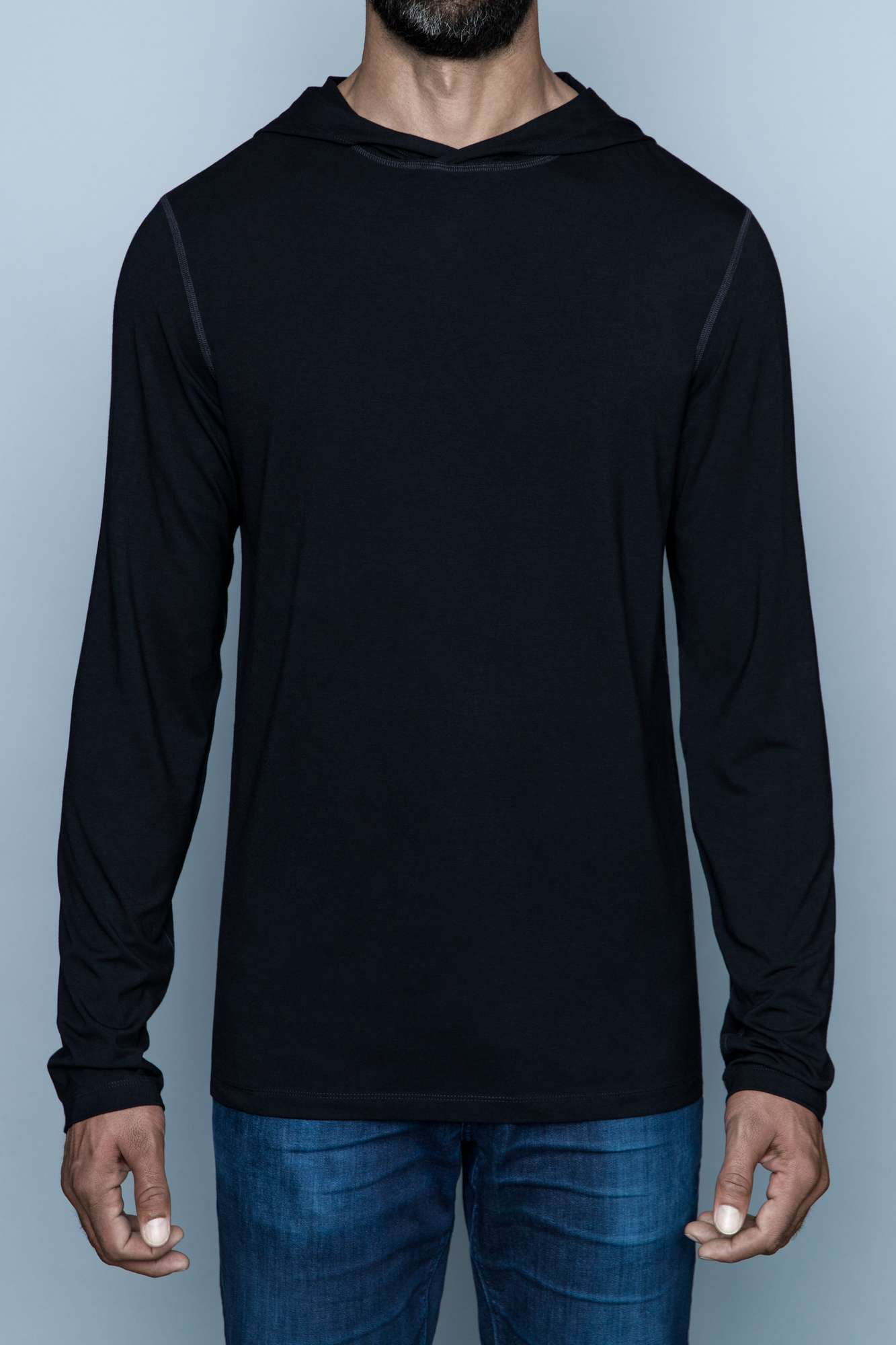 The Navas Lab Vasquez long-sleeve hooded shirt for tall guys in black. The perfect tall slim shirt for tall and slim guys looking for style and comfort.