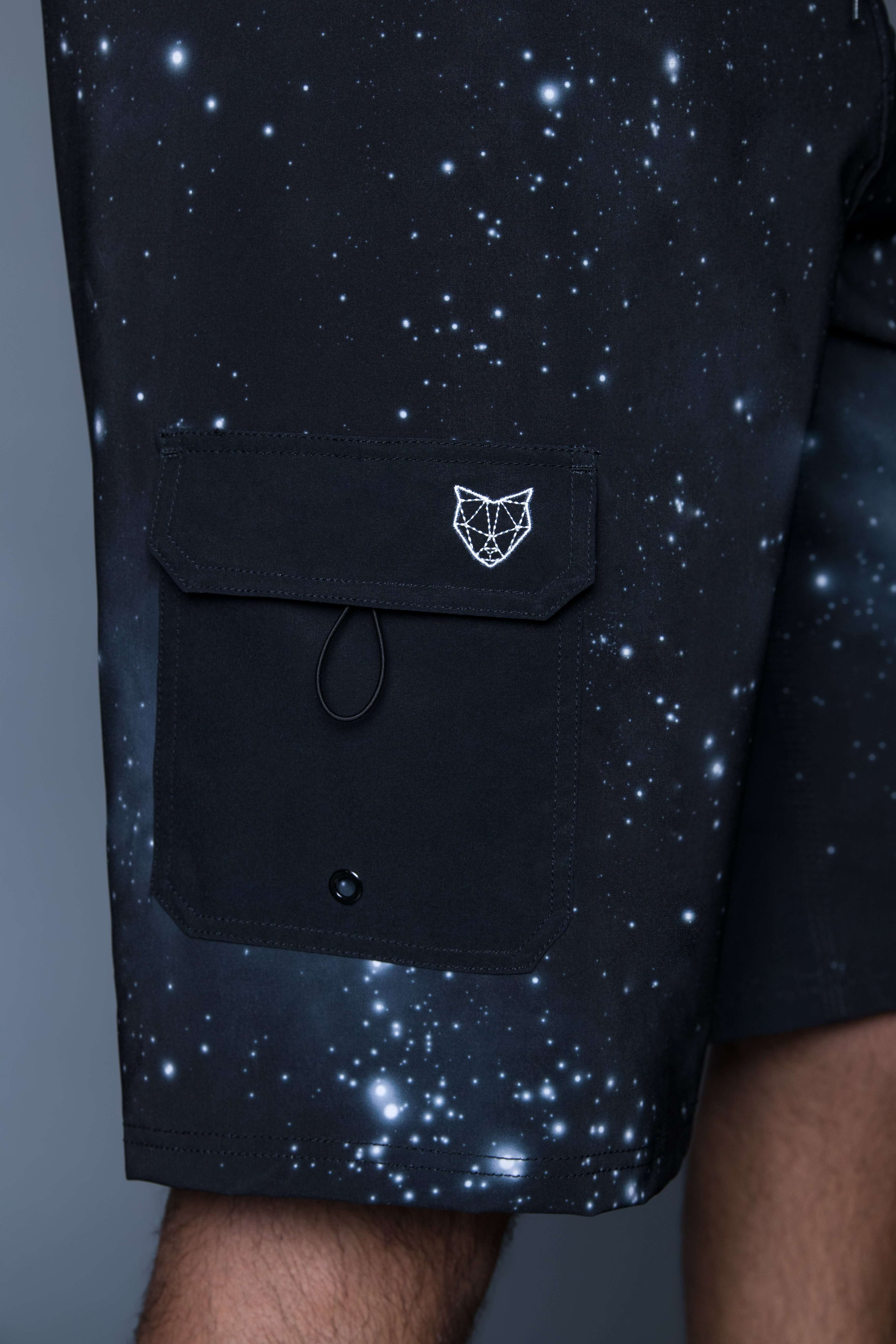 zod boardshorts for tall guys in space (black with white details). The perfect boardshorts for tall men.