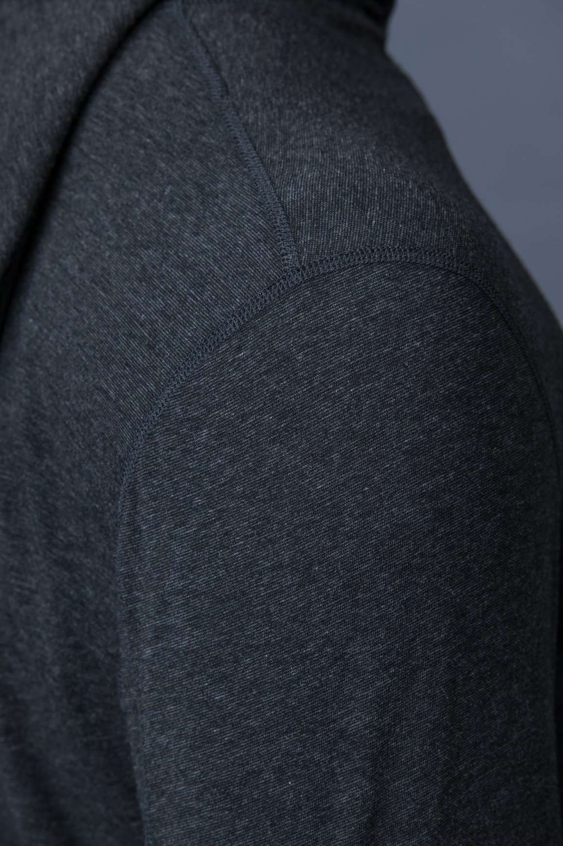 The Navas Lab Vasquez Microstripe long-sleeve hooded shirt detail for tall guys in Charcoal mix. The perfect tall slim shirt for tall and slim guys looking for style and comfort.