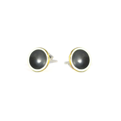 Brass Dome & Sterling Silver Stud Earrings - ANTHRACITE