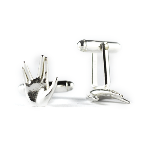 Sterling Silver 'Live Long and Prosper' Hand Symbol Cufflinks