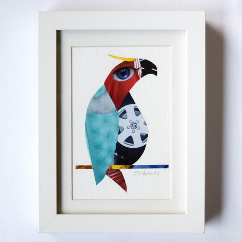 Wheelie Bird - Framed Collage Art