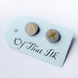 Hand Painted Polymer Clay Studs - O X