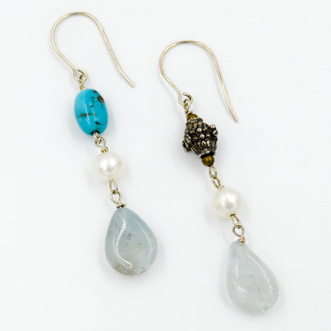 Aquamarine, Baroque Pearl & Blue Topaz Earrings