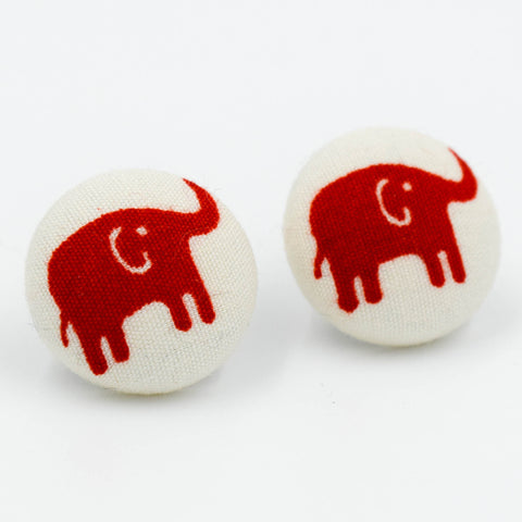 Fabric Button Earrings - Red Elephants