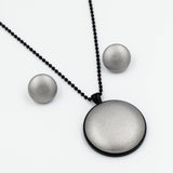 Faux Leather Button Pendant - Silver - Button Emporium | incube8r gallery