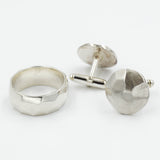 Cast Faceted Sterling Silver Cufflinks