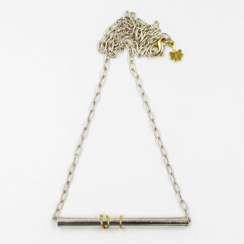 Sterling Silver Pipe Necklace with Yellow Gold Detail