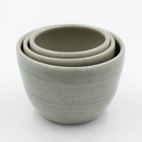 Ceramic Stacking Cups Set of 3 - Gray