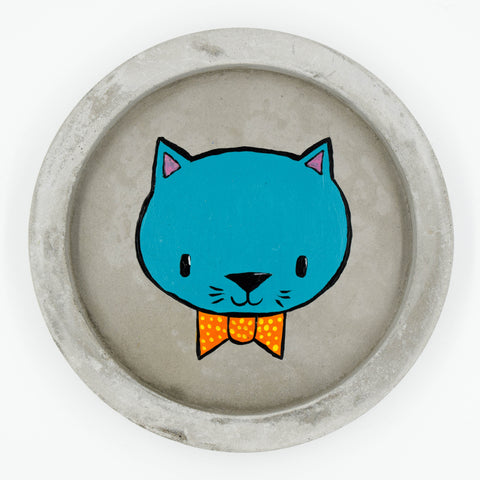 Concrete Trinket Dish with Cat Painting