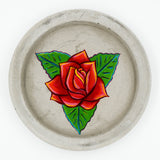 Concrete Trinket Dish with Rose Painting