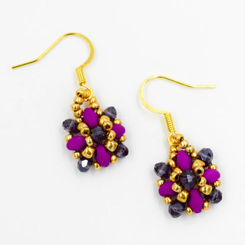 Purple & Gold Beaded Earrings