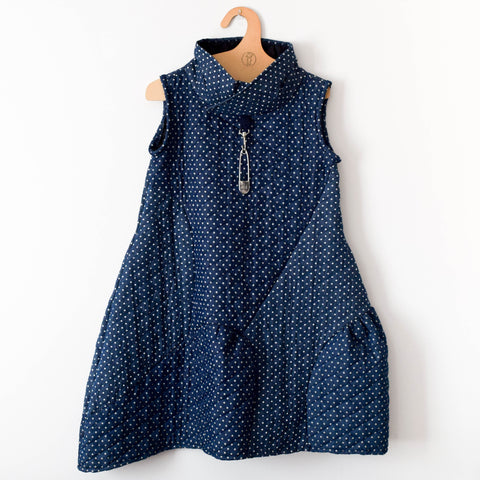 Blue & White Spotted Puffer Dress
