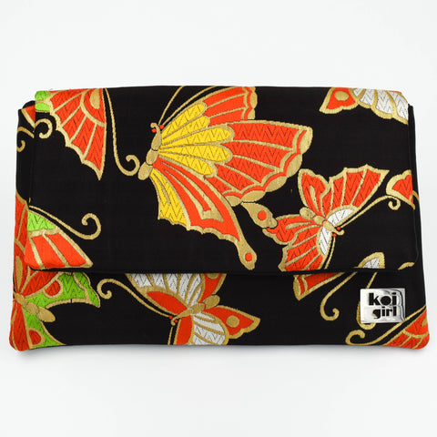 Black/Gold Butterfly Patterned Vintage Silk Clutch Purse