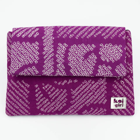 Magenta Patterned Vintage Silk Clutch Purse