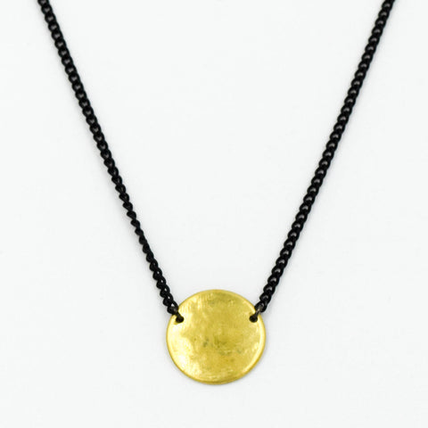 Brass Disc Pendant Necklace with Black Chain