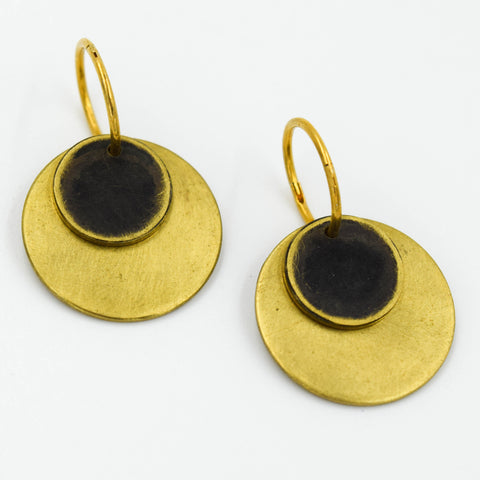 Brass & Oxidised Disc Earrings with 22ct Gold-Plated Sterling Silver Hoops
