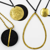 Double Brass Oxidised Disc Pendant Necklace