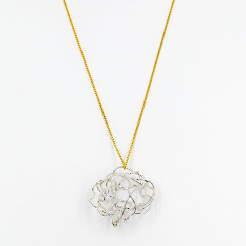 Silver & Gold 3D Pendant Necklace