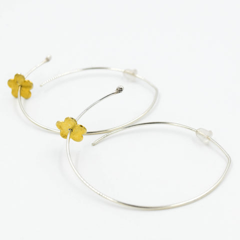 Sterling Silver Abstract Hoop & Gold Flower Earrings