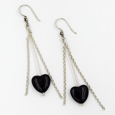 Jet Black Heart & Sterling Silver Earrings