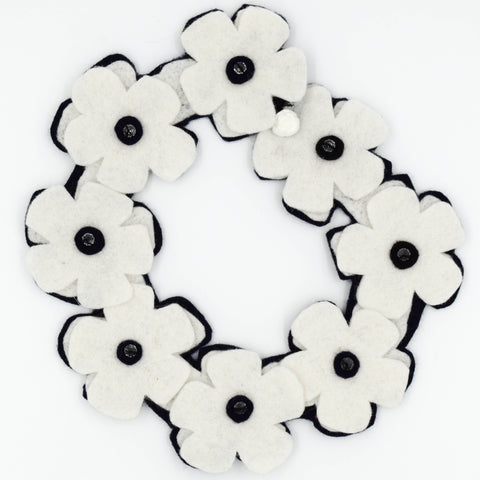 Black & White Floral Wool Collar by Ginetta Chiodo