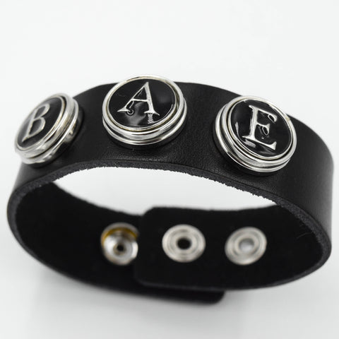 "Black ""BAE"" Leather Wrist Cuff by Trace Element"