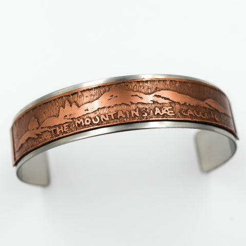 The Mountains Are Calling Sterling Silver & Copper Cuff by Raven & Wren