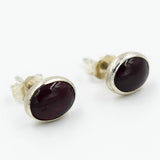 Garnet Gemstone & Sterling Silver Stud Earrings by Raven & Wren