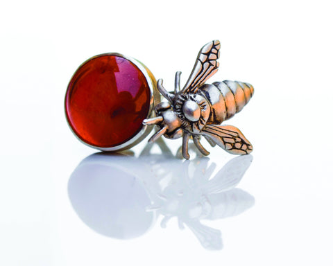 Amber Honey Bee Studs by Raven & Wren