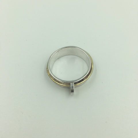 Sterling Silver Ring with Gold Detail