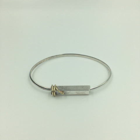 Sterling Silver Bangle with Gold Detail