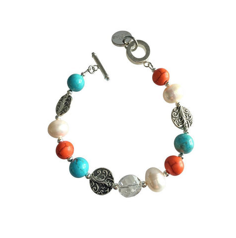 """Drift Away"" Bracelet  w. Orange and Turquoise Magnesite by Jet Empire"