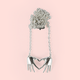 Sterling Silver 'All Heart' Hands Pendant Necklace