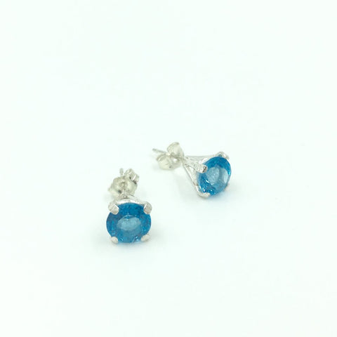 """Solitare Stud  Earrings"" in Topaz by Meena Song"
