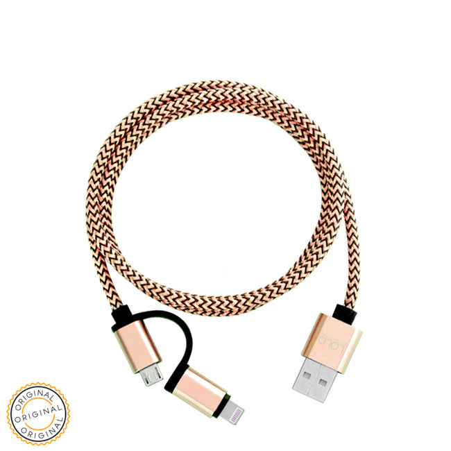 LOLO HIGH QUALITY CABLE 2IN1 GOLD