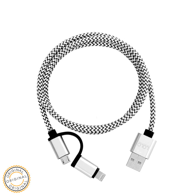LOLO HIGH QUALITY CABLE 2IN1 SILVER