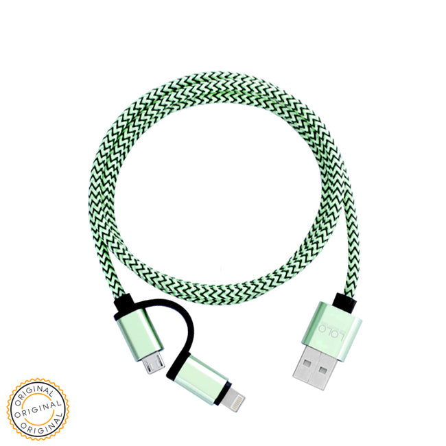 LOLO HIGH QUALITY CABLE 2IN1 GREEN
