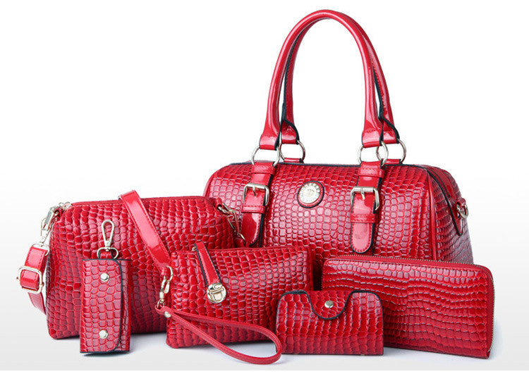 New Designer Elegant Grab 6 In 1 Bag Set Red