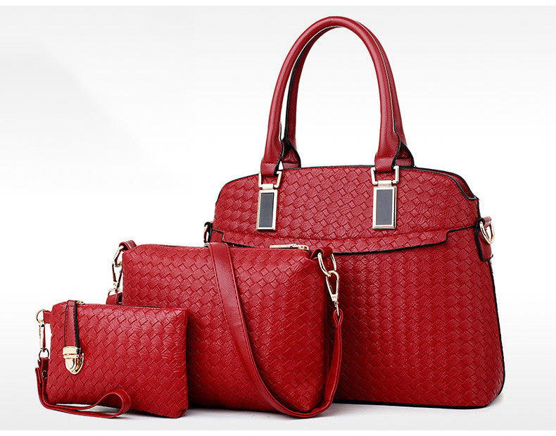 New Elegant Office Day/Evening 3 In 1 Bag Set  Red
