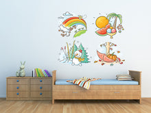 Load image into Gallery viewer, Skiing Winter Snowman Wall Decal